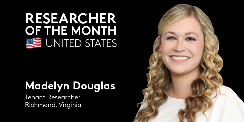👏 We're giving a big round of applause to our latest @CoStarUS Researcher of the Month: Tenant Researcher I Madelyn Douglas! She…