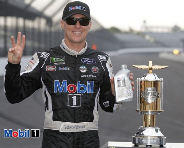 Kevin Harvick kissed the bricks at Indianapolis Motor Speedway from Mobil 1's post
